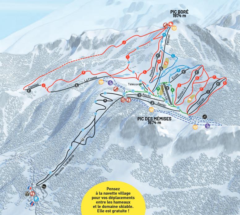 Thollon les mémises - plan des pistes de ski