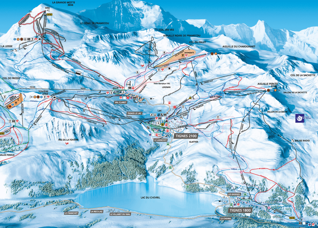 Tignes - Plan des pistes de ski