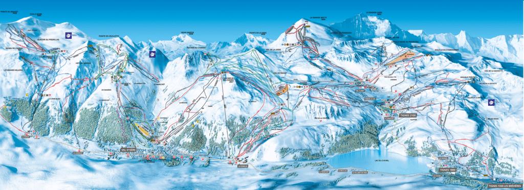 Tignes Val d'isère - Plan des pistes de ski