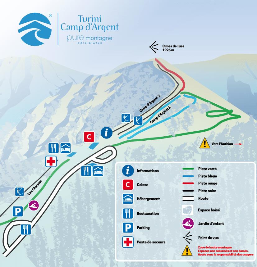 Turini - Camp D'argent - Plan des pistes de ski