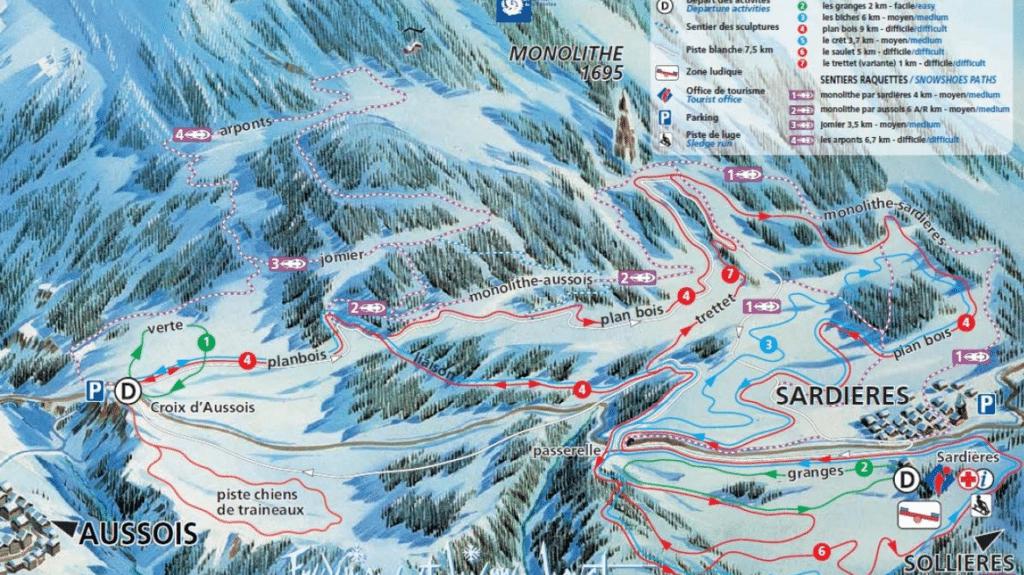 Val Cenis Aussois - Plan du domaine nordique (ski de fond)