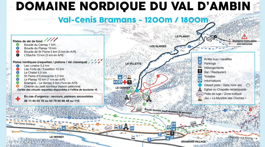 Val Cenis Bramans - Plan du domaine nordique (ski de fond)
