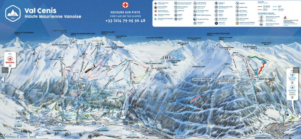 Val Cenis - Plan des pistes de ski