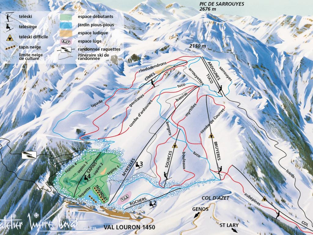Val Louron - Plan des pistes de ski