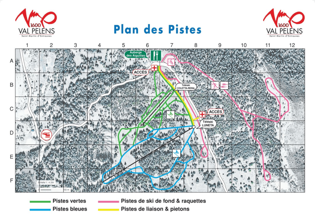 Val Pelens - Plan des pistes de ski