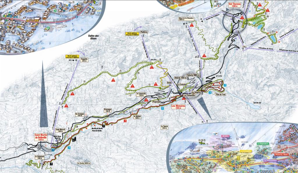 Val Thorens - Les Ménuires - Plan du domaine nordique (ski de fond)