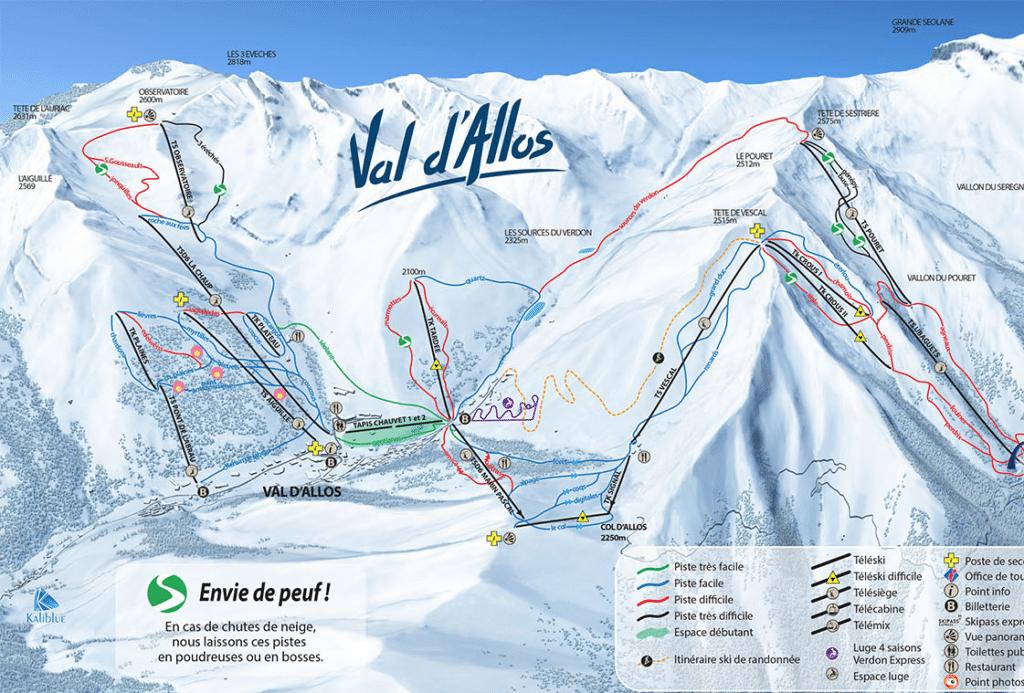 Val d'Allos - Plan des pistes de ski