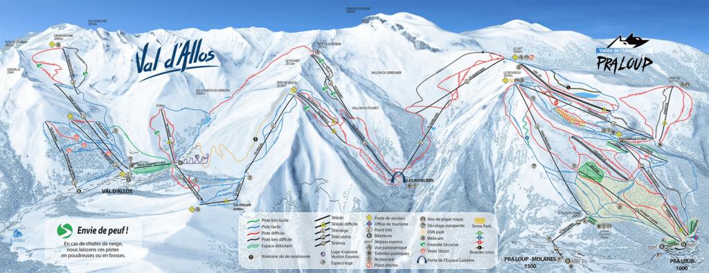 Val d'Allos Praloup - Espace Lumière - Plan des pistes de ski