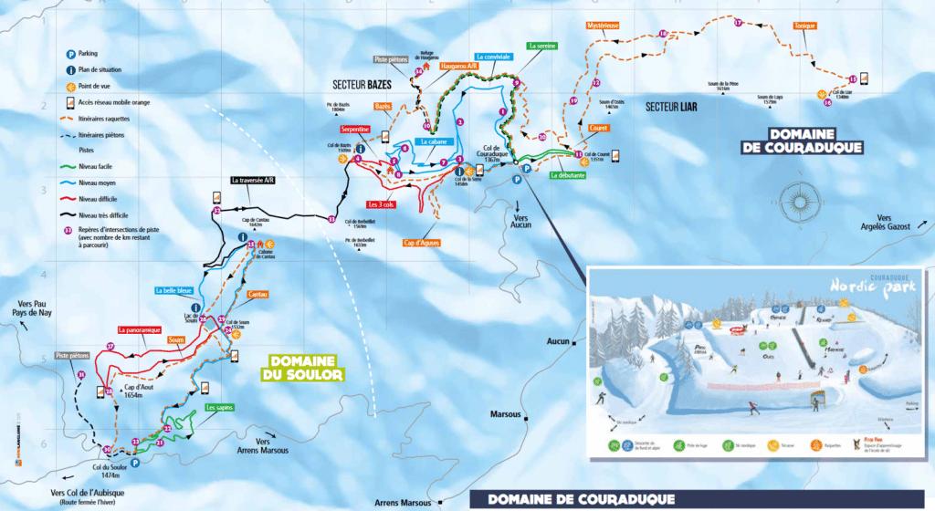 Val d'Azun - Plan du domaine nordique (ski de fond)