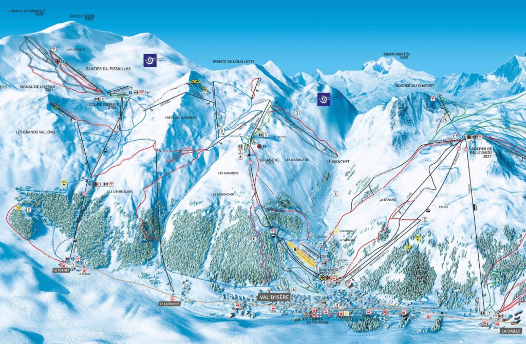 Val d'Isère - Plan des pistes de ski