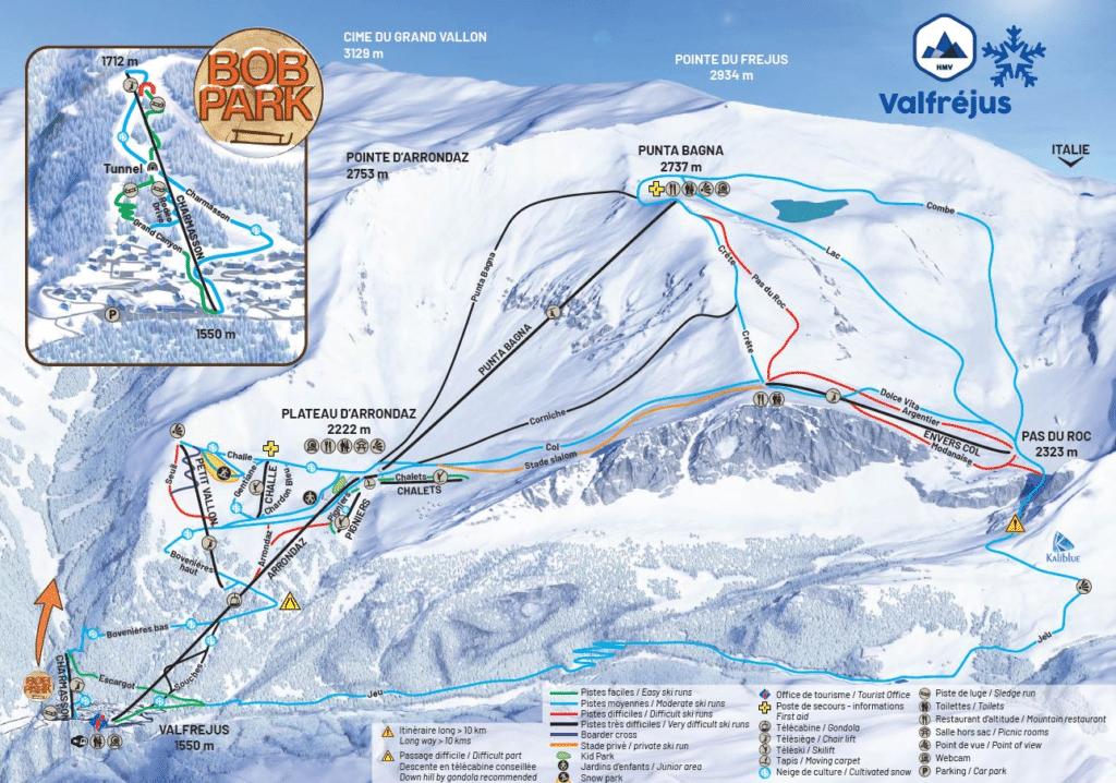 Valfrejus - Plan des pistes de ski