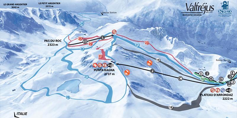 Valfrejus - Plan des pistes de ski - vue d'en haut