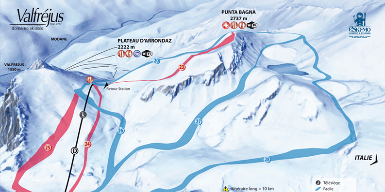 Valfrejus - Plan des pistes de ski - vue du sud