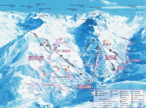 Valloire - Plan des chemins de raquettes