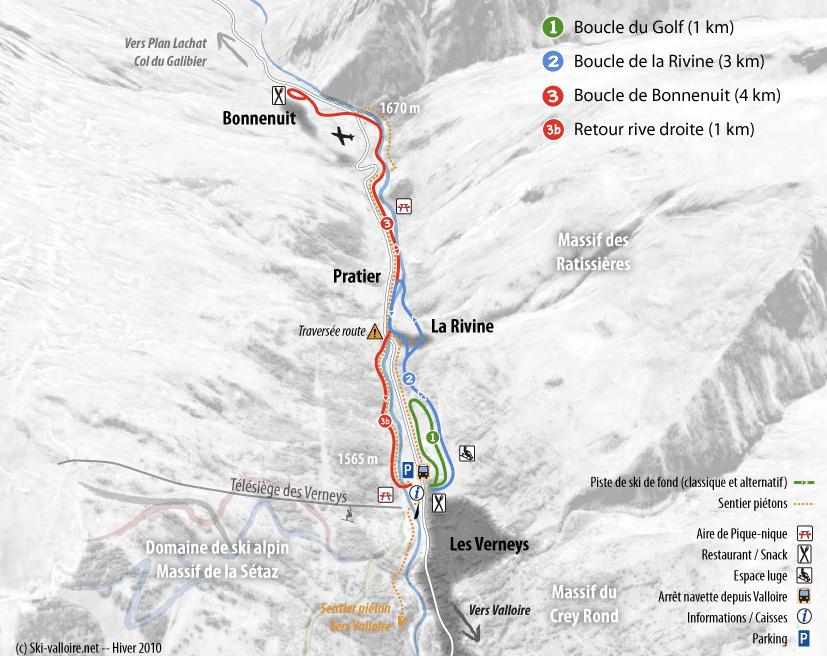 Valloire - Plan du domaine nordique
