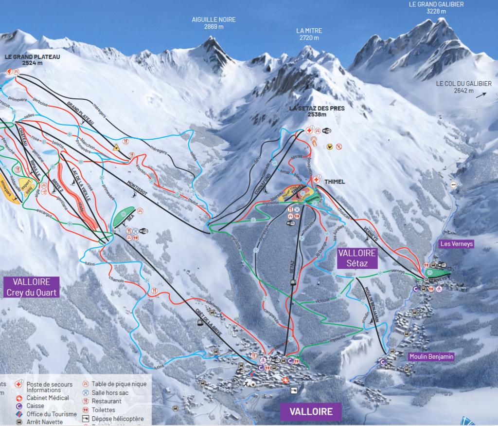 Valloire - Plan du domaine skiable