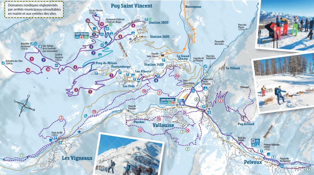 Vallouise - Pelvoux - Puy Saint Vincent - Plan des chemines de raquettes et randonnées