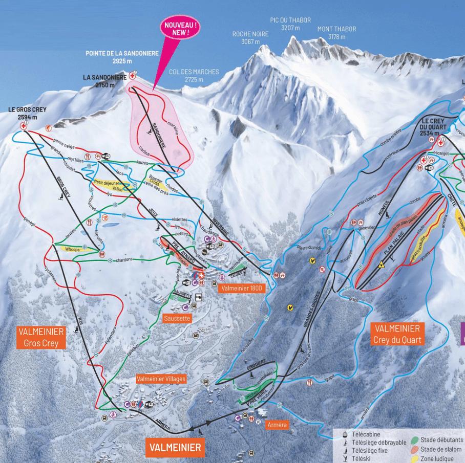 Valmeinier - plan du domaine skiable