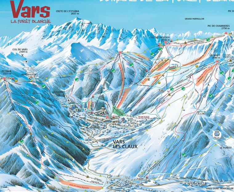Vars - Plan du domaine skiable