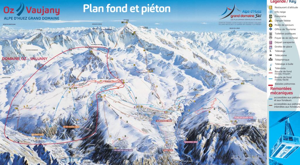 Vaujany - Oz en oisans - Plan des pistes de ski de fond et raquettes