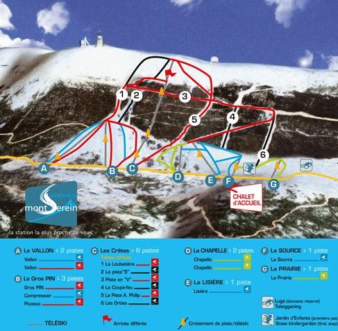 Ventoux - Plan des pistes de ski