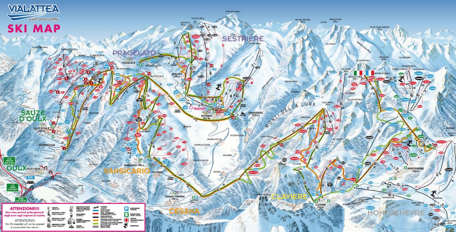Vialattea - Plan des pistes de ski