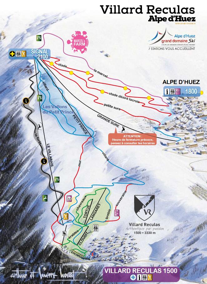 Villard Reculas - Plan des pistes de ski
