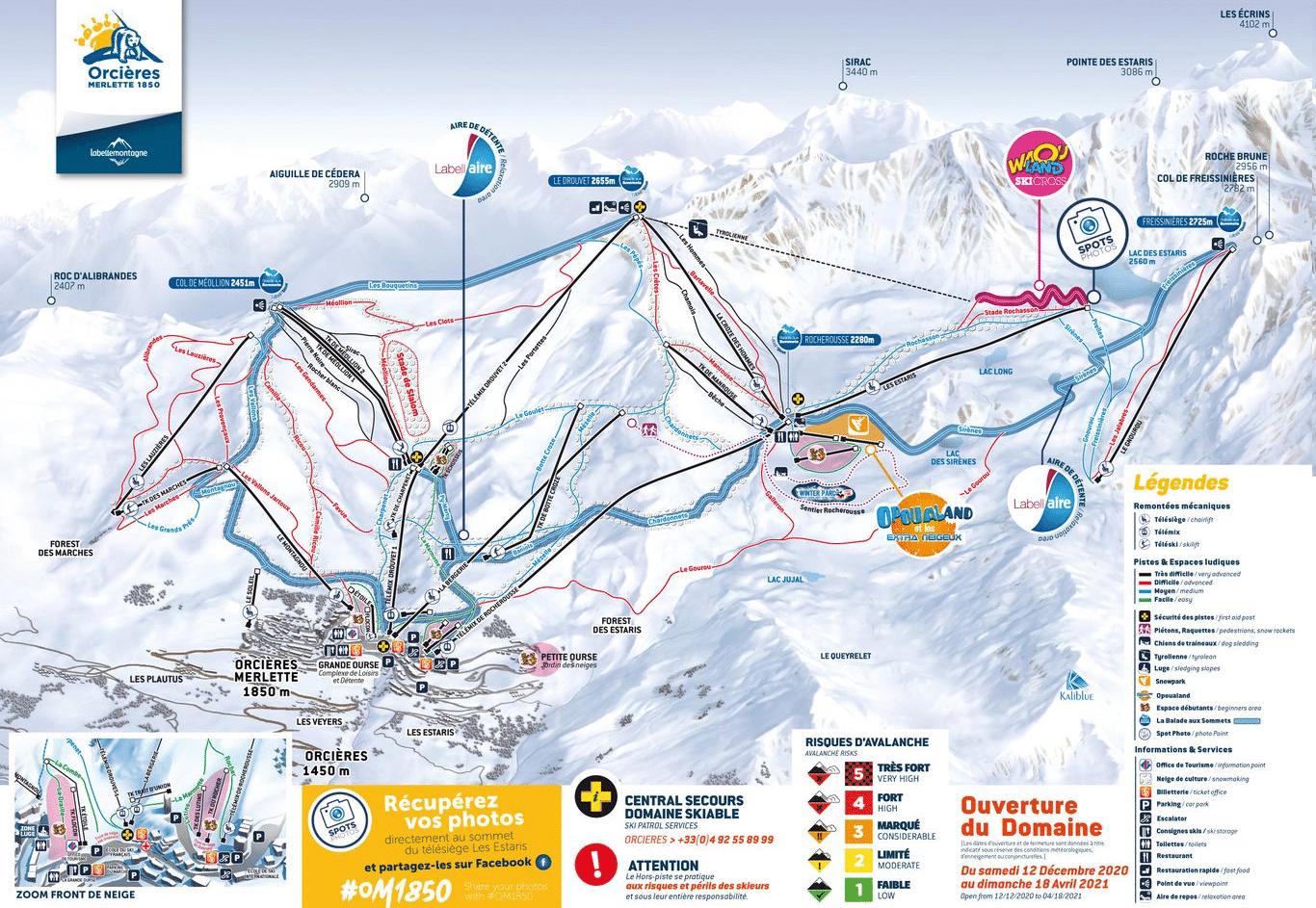 orcières merlette - plan des pistes de ski