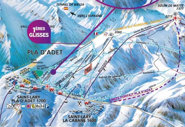 pla d'adet - plan des pistes de ski