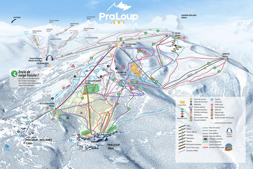 praloup - plan des pistes de ski
