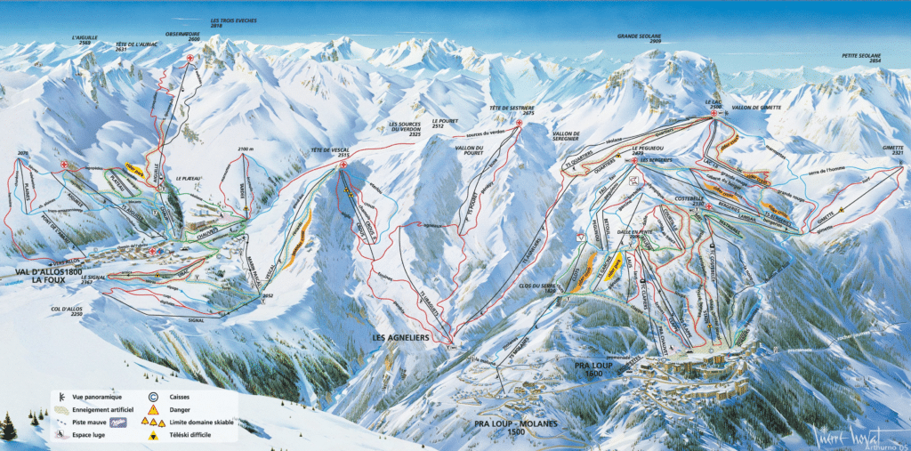 val d'allos - praloup - plan du domaine skiable